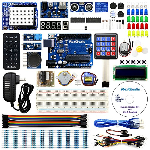 UNO Project Super Starter Kit for Arduino w/ UNO R3 Development Board, LCD1602, Membrane Switch, Servo, Stepper Motor, Joystick, Power Supply Adapter, DHT11, IR Receiver, Detailed Tutorial (Motor Microcontroller Stepper)