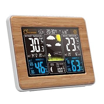 Estación meteorológica inalámbrica Pronóstico digital Termómetro exterior para interiores, reloj despertador electrónico multifunción, pantalla