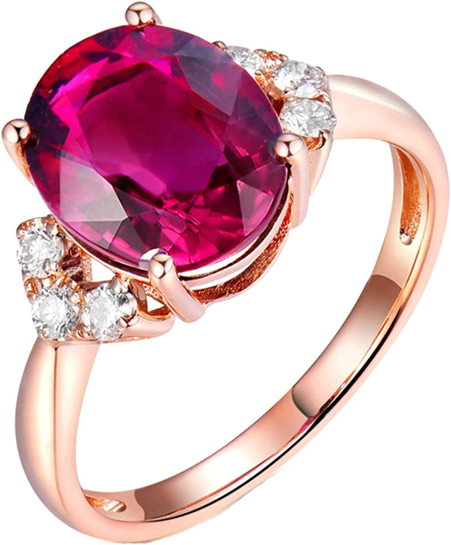 Aartoil Alianzas de boda de oro rosa de 18 quilates para mujer, 4 garras ovaladas de turmalina de 3,769 quilates con diamante de 0,21 quilates, anillo de compromiso, regalo de cumpleaños y aniversario