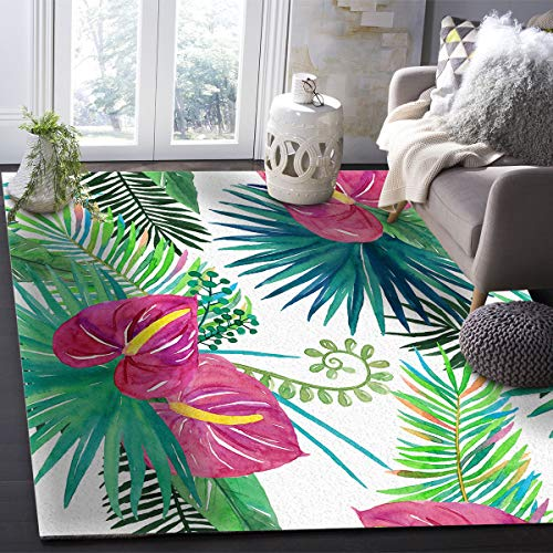 OUR WINGS Modern Area Rug,Tropical Rainforest Palm Leaves Amazon Rainforest Ferns 4 Feet by 6 Feet Indoor Area Rugs Living Room Carpets for Home Decor Bedroom Nursery Rugs