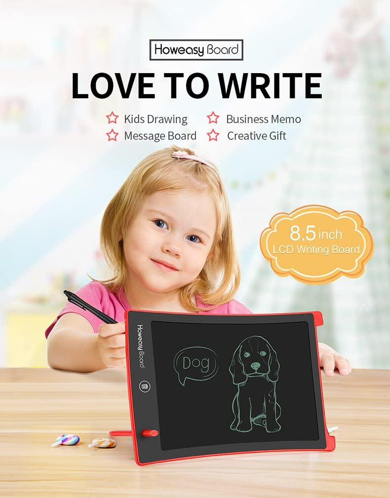 Howeasy Board Writing Tablet, 8.5 Inch Learning Educational Toys Electronic Drawing and Writing Board for Kids & Adults, Handwriting Paper Doodle Pad for School and Office (Red)