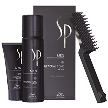 wella sp just men gradual tone set de coloration pour cheveux gris brun - Just For Men Coloration Cheveux Homme