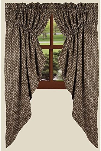 Home Collection by Raghu Kingston Jacquard Black Gathered Swag, 72 by 63