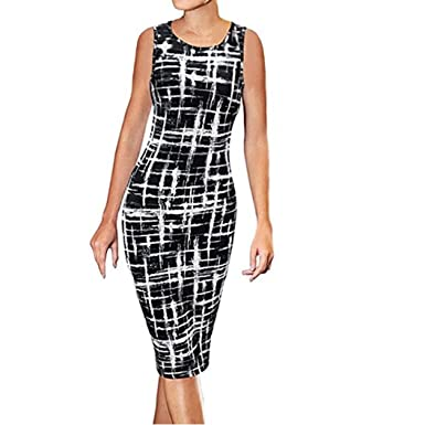 434e141c028 FNKDOR New Women s Office Evening Gown Black Tie Optional Slim Sexy Casual  O Neck Strapless Print