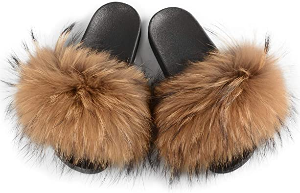 Women/'s Ladies Luxury Fur Sliders Fluffy Slides Slippers Indoor Outdoor Sandal