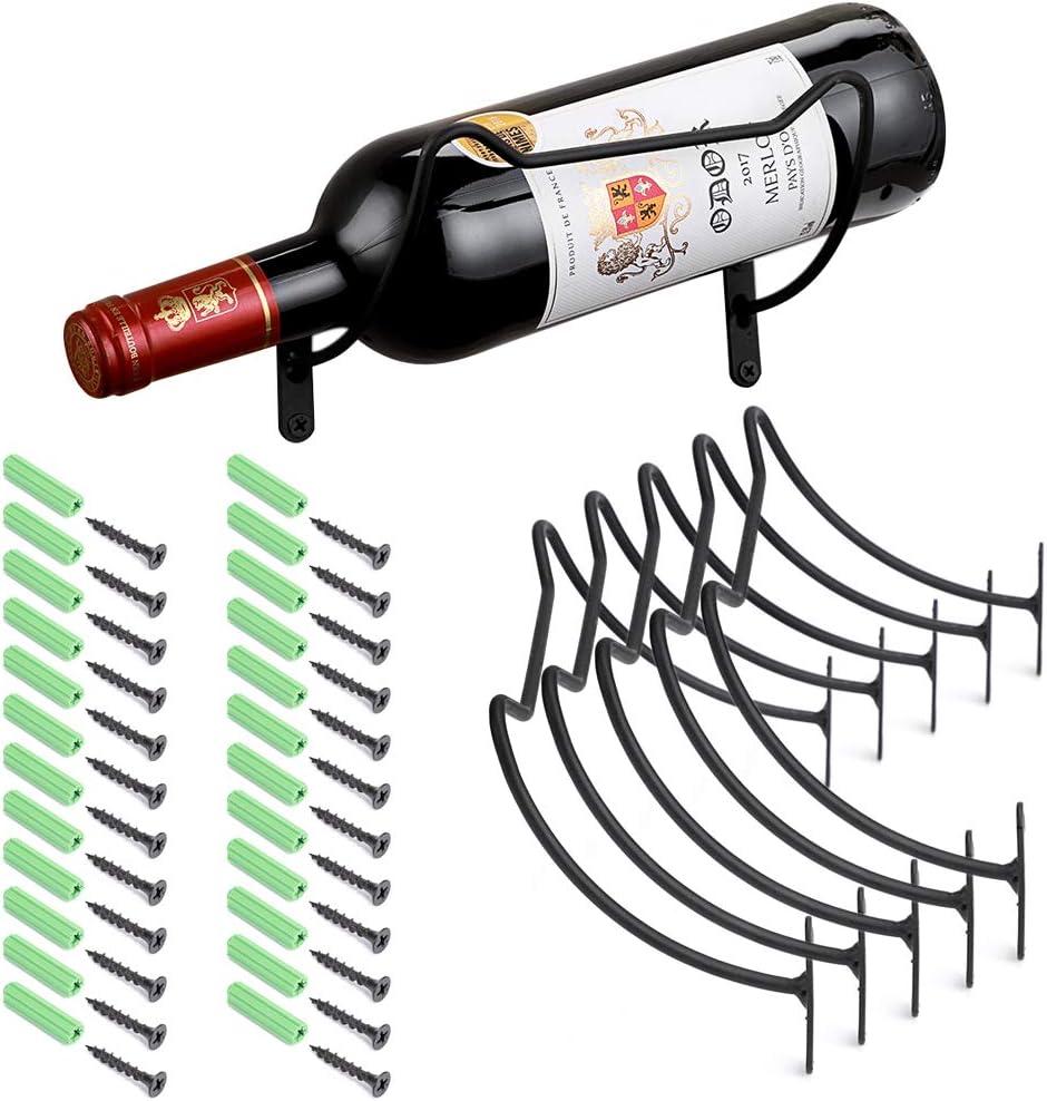 Hipiwe Pack of 6 Wine Rack Wall Mounted Wine Bottle Holder - Metal Red Wine Display Holder for Home Bar Decor Wall Hanging Beverages Liquor Bottles Storage Rack with Hardware