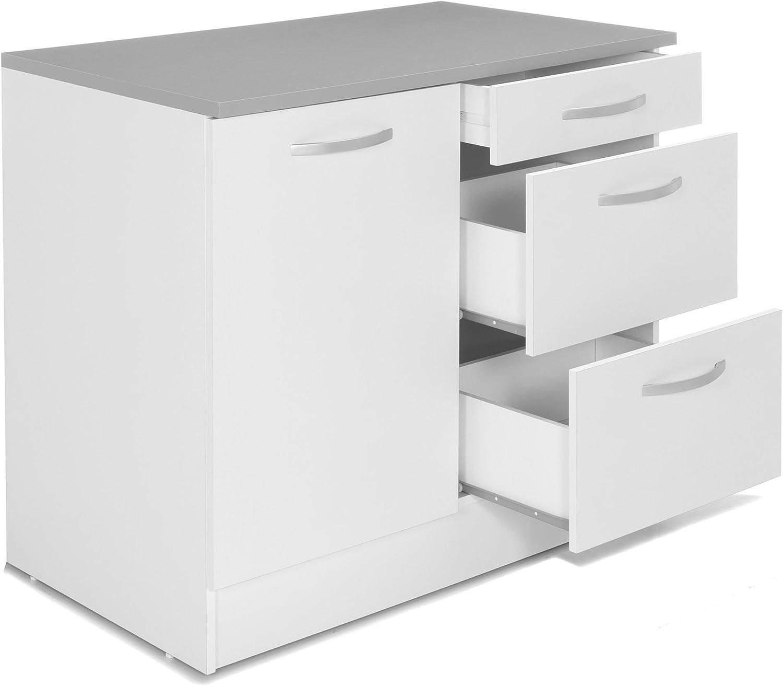 EKO Cuisine Meuble de Cuisine Bas pour évier avec tiroirs 12cm