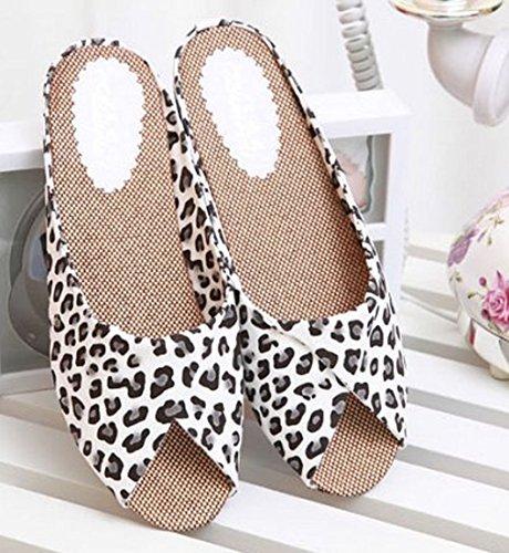 Cattior Kvinna Leopard Damer Tofflor Glida Sandaler Vita
