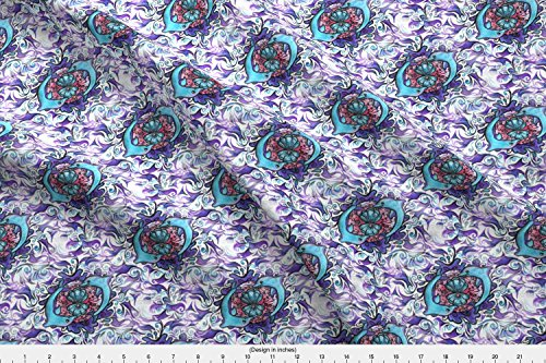 Spoonflower Delphines Fabric Dolfins Seamless Continueing by Vinkeli Printed on Cotton Spandex Jersey Fabric by the Yard (Fat Dolphin Quarters)