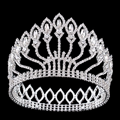 FUMUD Wedding Bridal Crystal Tiara Crowns Princess Queen Pageant Prom Rhinestone Silver Tiara Headband Wedding Hair Accessories -