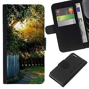 EJOY---La carpeta del tirón la caja de cuero de alta calidad de la PU Caso protector / Apple Iphone 5C / --Naturaleza Hermosa Forrest Verde 41
