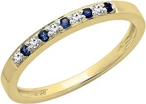 Anillo de oro con diamante blanco y zafiro azul, para mujer, para boda o aniversario, 10 quilates, anillo apilable