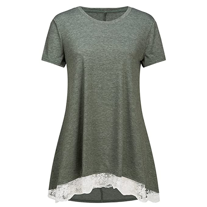 5400e95f924 Fantastic Zone Women's Lace Summer Short Sleeve Tunic Tops for Legging Army  Green Plus Size XL