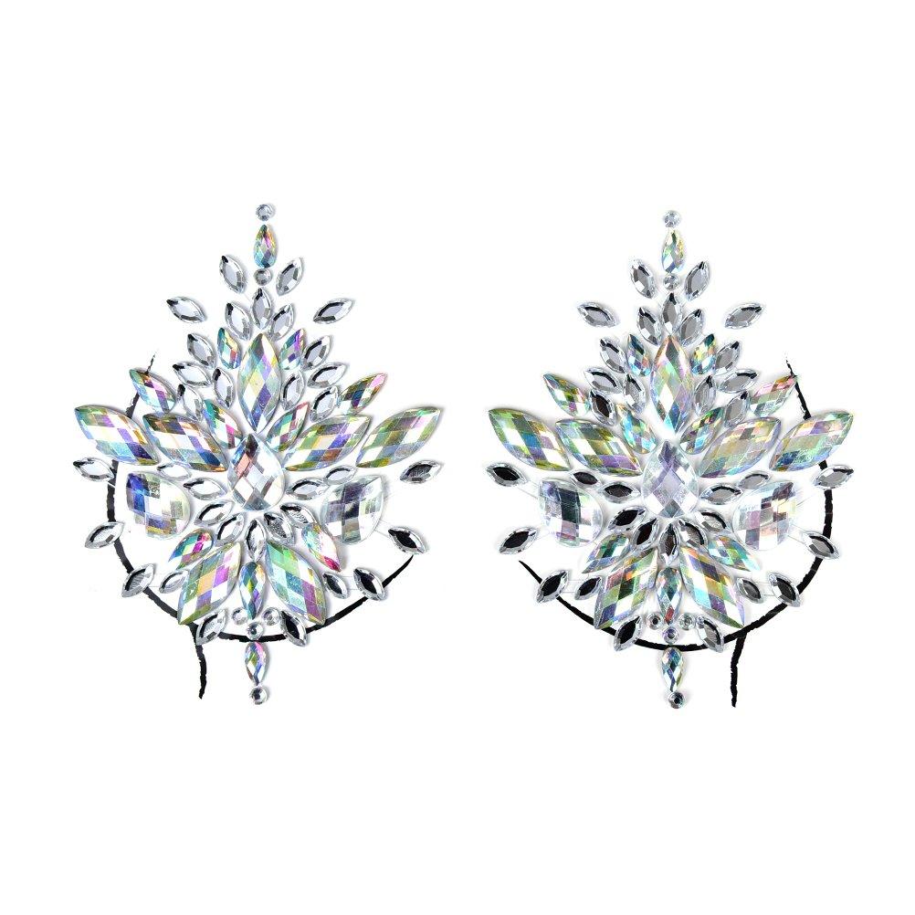 PIAOPIAONIU 50 Sets Rhinestone Body Jewelry Stick On Crystal Costume Tattoo Nipple Crystal Gem Stones Bindi Stickers by PIAOPIAONIU
