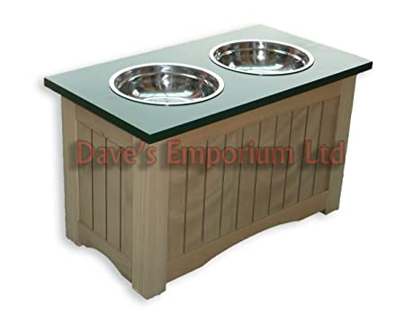 Raised Dog Feeder U0026 Storage Cabinet   Twin Bowls   Wooden Elevated Pine  Feeder