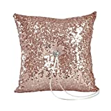 Ivy Lane Design Elsa Shiny Sequin Ring Pillow, Blush