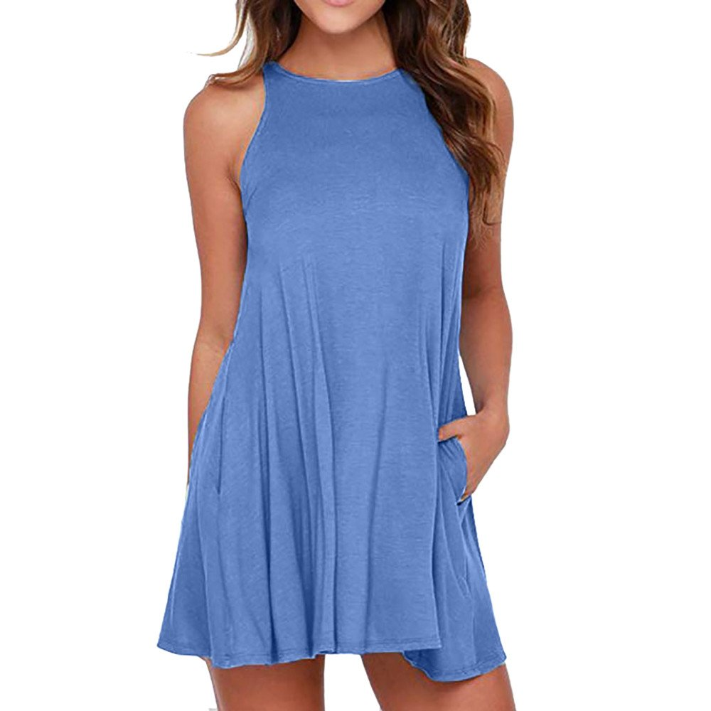 Libermall Women's Dresses Summer Sleeveless with Pocket Beach Sundress Evening Party Swing Camis Dress Blue