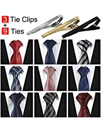 Lot 9 pcs Ties For Men and 3 Free Clips, Men's Classic Tie Necktie Woven Jacquard Neck Ties Gift Box Packing