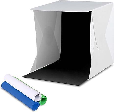 Amzdeal Caja de Luz Continua y Portátil 30 x 30 cm con 4 Fondos Negro/ Blanco/Azul/Verde para Hacer Fotos a Objetos Mini de Estudio Fotografía: Amazon.es: Electrónica