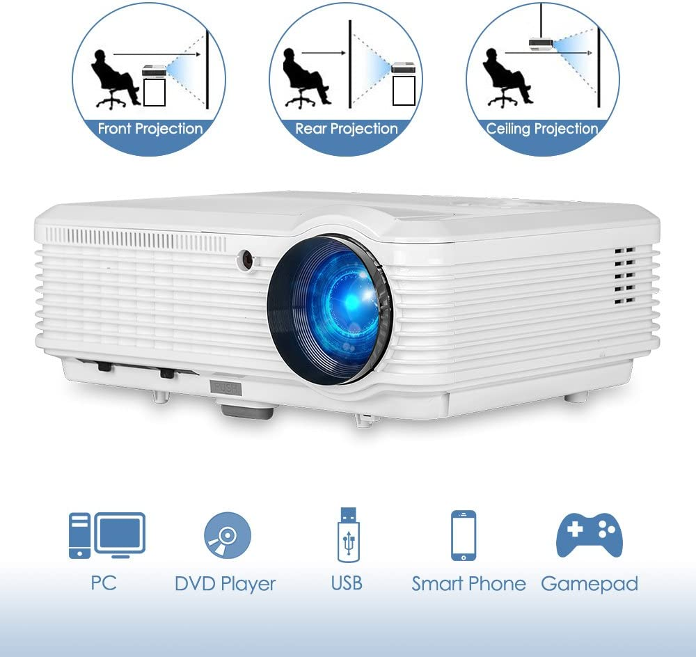 "1080P Full HD Supported Video Projector with 4600 Lumen, Home Movies Projector with Max 200"" Display, 50000 Hours LED Life, Compatible with TV Stick, TV Box, Mobile Phone, PS4, Laptop, HDMI, USB, VGA"