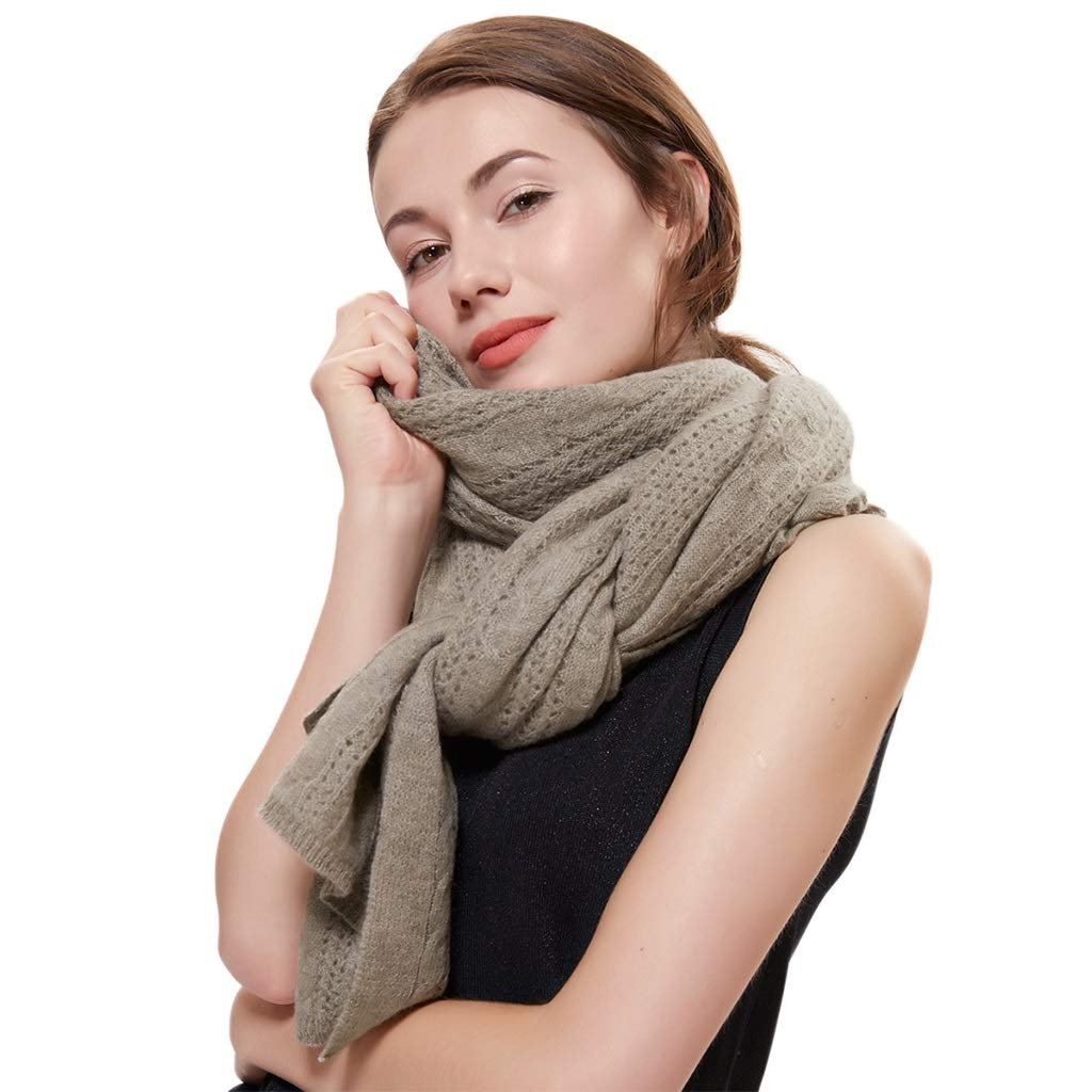 Brown Stoles Scarf Silk Cashmere Scarf Knit Shawl Autumn and Winter Warm Pure Cashmere Knit Shawl Soft Long Cloak Shawl Thick (color   White, Size   175  55cm)
