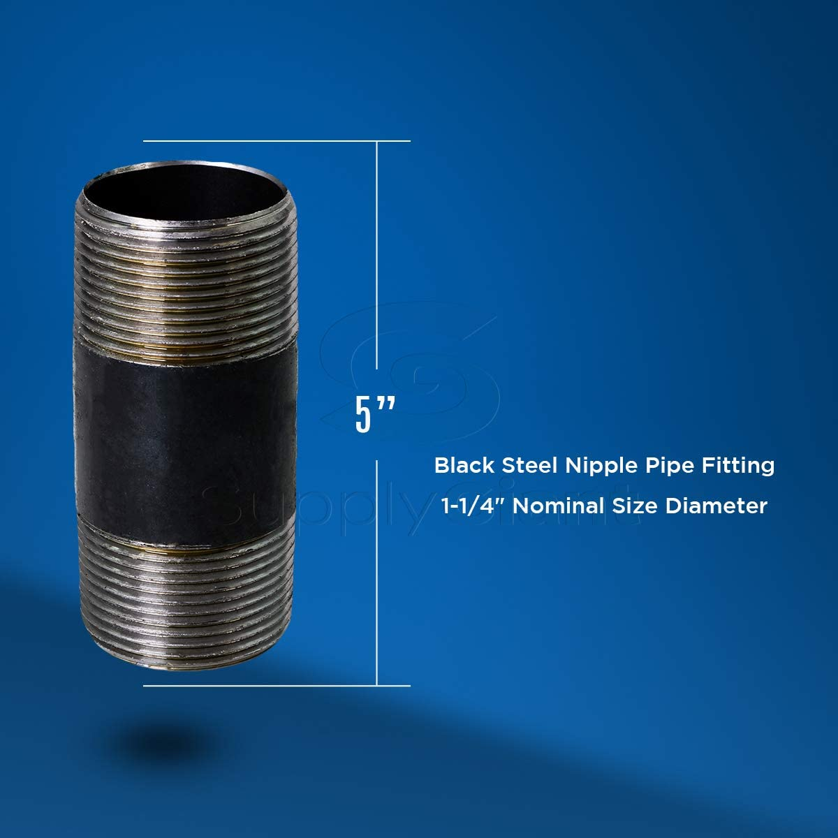 1-1//4 In SUPPLY GIANT OQCM1135-5 Steel Nipple Pipe Fitting Threaded Schedule 40 x 3-1//2 In Black 5 Pack