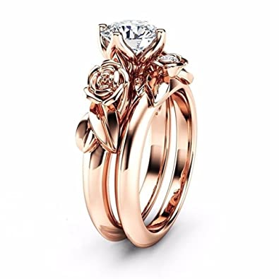 Amazon Com Younice Engagement Ring Sets Women S Rose Wedding Ring