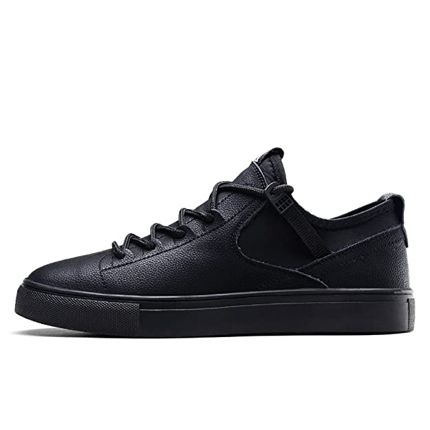 Amazon.com | Gooceo Mens Low-top Leather Lace-up Skateboarding Shoes Flats Sneakers | Fashion Sneakers