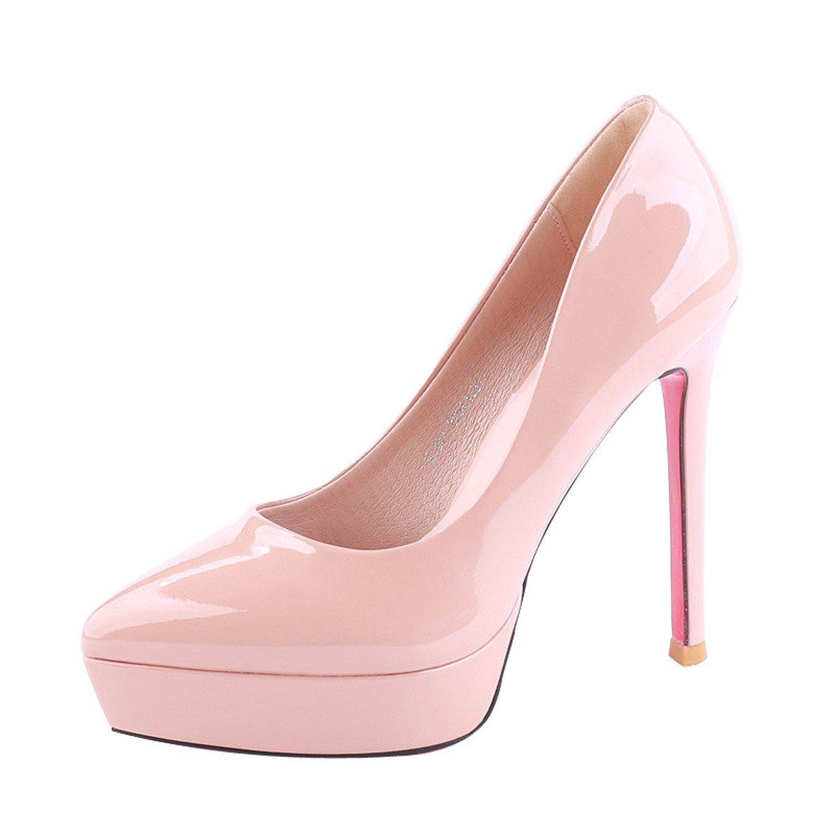 KPHY Zapatos de Mujer/Verano Puntiagudas 12Cm Super Zapatos De Tacon Alto Plataforma Boca Superficial Impermeable Sexy Laca Solo Los Zapatos.Treinta Y Cuatro De Color Albaricoque Thirty-four Apricot color
