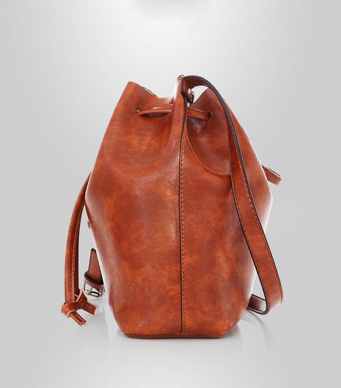Dame Tasche Drei Packungen Retro Einfache Troddel Eimer Große Tasche Hand Schräg Einzelne Hand Tasche Nieten,Red-OneSize GKKXUE