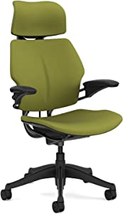 Humanscale Freedom Office Desk Chair with Headrest - F211 Standard Height Adjustable Duron Arms - Graphite Frame Sage Fabric - Soft Hard Floor Casters
