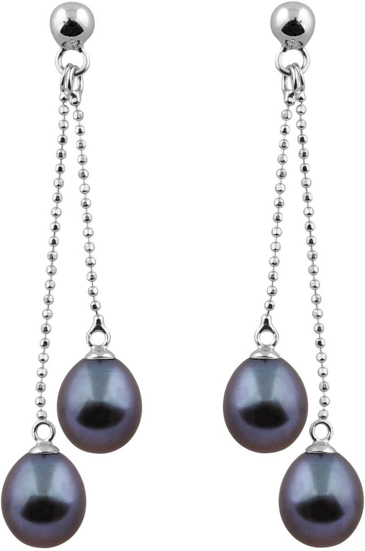 Splendid Pearls 925 Sterling Silver Drop Pearl Dangle Earrings Freshwater Cultured 7.5-8.0mm Double Rope