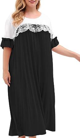 Summer Bowknot Short Sleeves Long Dress Women/'s Sleepwear Pajama Nightwear L-2XL
