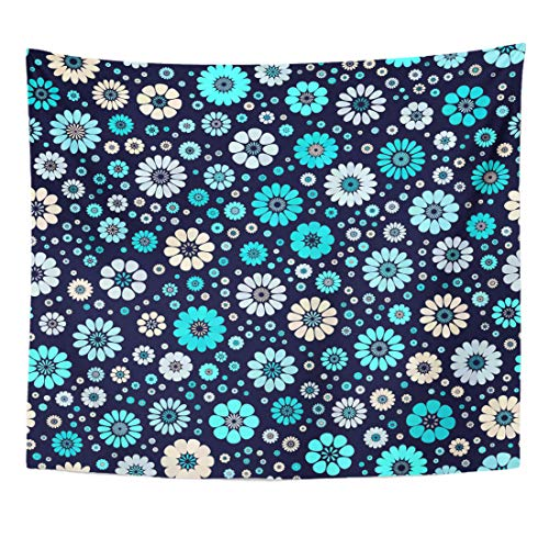 (Emvency Tapestry Colorful Dusty Aqua Sky Blue Ivory Spot Flower on Dark Navy Mid Century Mod Abstract Floral Geometric Home Decor Wall Hanging for Living Room Bedroom Dorm 50x60 Inches)