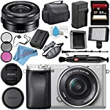 Sony Alpha a6300 Mirrorless Digital Camera with 16-50mm Lens (Silver) ILCE-6300L/S + Sony E PZ 16-50mm f/3.5-5.6 OSS Lens SELP1650 + NP-FW50 Replacement Lithium Ion Battery Bundle