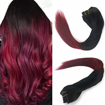 120g Set 2 Tones Color 1b Red Dip Dye Clip In Extensions Remy Virgin Human Hair Wine Red Ombre Burgundy Straight Long Hair 20 Inch Black And Wine