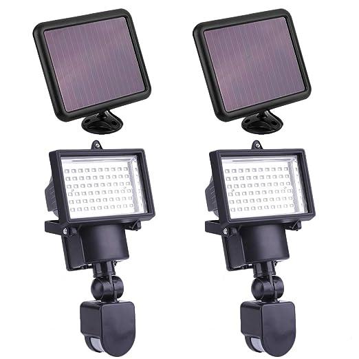 Solar Strahler 2er Set 60 Led Solarlampen Mit Bewegungsmelder