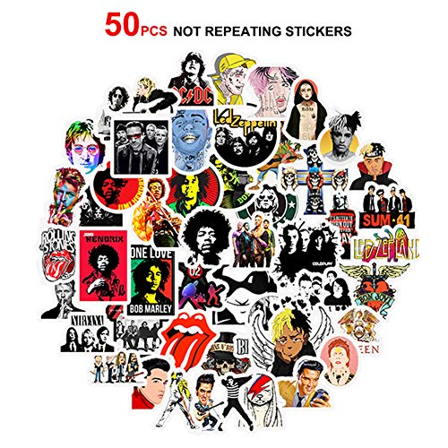 Best Punk Rock Band 50 PCS Not Repeat Stickers Pack Rock and Roll Music Stickers Vinyl Waterproof Decals for Electric Guitar Bass Drum Laptop Skateboard Motorcycle