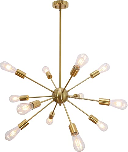 VINLUZ Modern Sputnik Chandelier 12 Light Brushed Brass Mid Century Pendant Lighting Rustic Ceiling Lights Fixture
