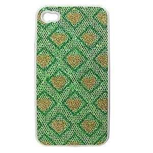 Tono Oro Verde Brillante Volver Funda Corazón de plástico duro para el iPhone 4 4S 4G 4GS
