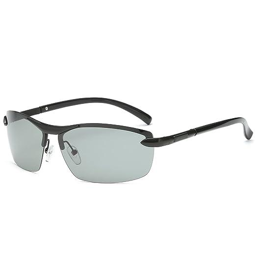 edbc2310fdfc Amazon.com: Galulas Classic Sports Goggles Semi-rimless Metal Eyewear Frames  Discoloration HD Polarized Lenses Women Sunglasses All-weather Men Square  ...