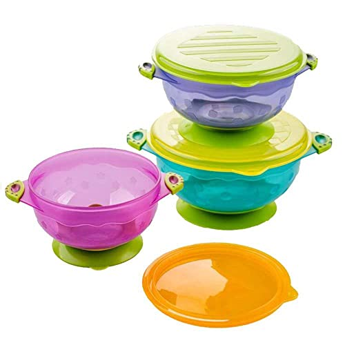 Yakamoz 3 Size Stay Put Suction Baby Bowls with Snap Tight Lids, Suction Toddler Spill-Proof to Go Storage Feeding Set