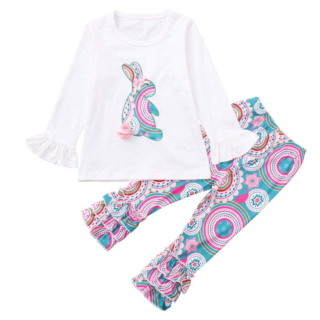 Little Girl Autumn Pajamas Sets,Jchen(TM) Infant Kids Little Girl Cute Animal Long Sleeve Tops Floral Pants Autumn Home Wear Outfits for 2-6 Years Old (Age: 3 Years Old, Blue)