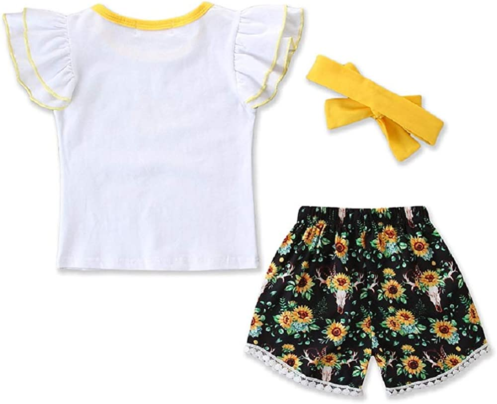 Floral Shorts Sun Flower Infant Baby Girl Boy Outfits Sunflower Print Romper Headband Summer Outfit Set