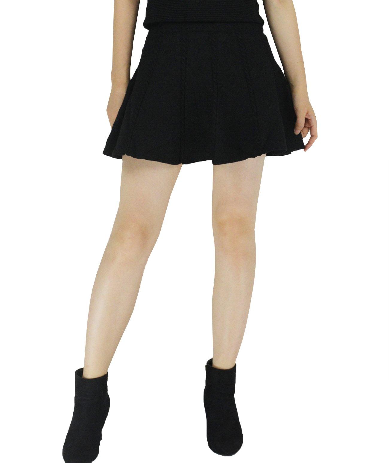 YSJ Lady's Knitted Mini Skirt High Waist A-line 17-inch Skirts (Black Bling)