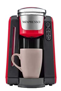 Mixpresso - Single Serve K-Cup Coffee Maker | Compatible With 1.0 & 2.0 K-Cup Pods | Removable 45oz Water Tank | Quick Brewing with Auto Shut-Off | One Touch Function (Red/Grey)