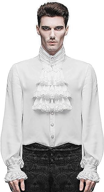 Devil Fashion Camisa Hombre Top Blanco Steampunk Gótico Victoriano Regency Aristocrat: Amazon.es: Ropa y accesorios