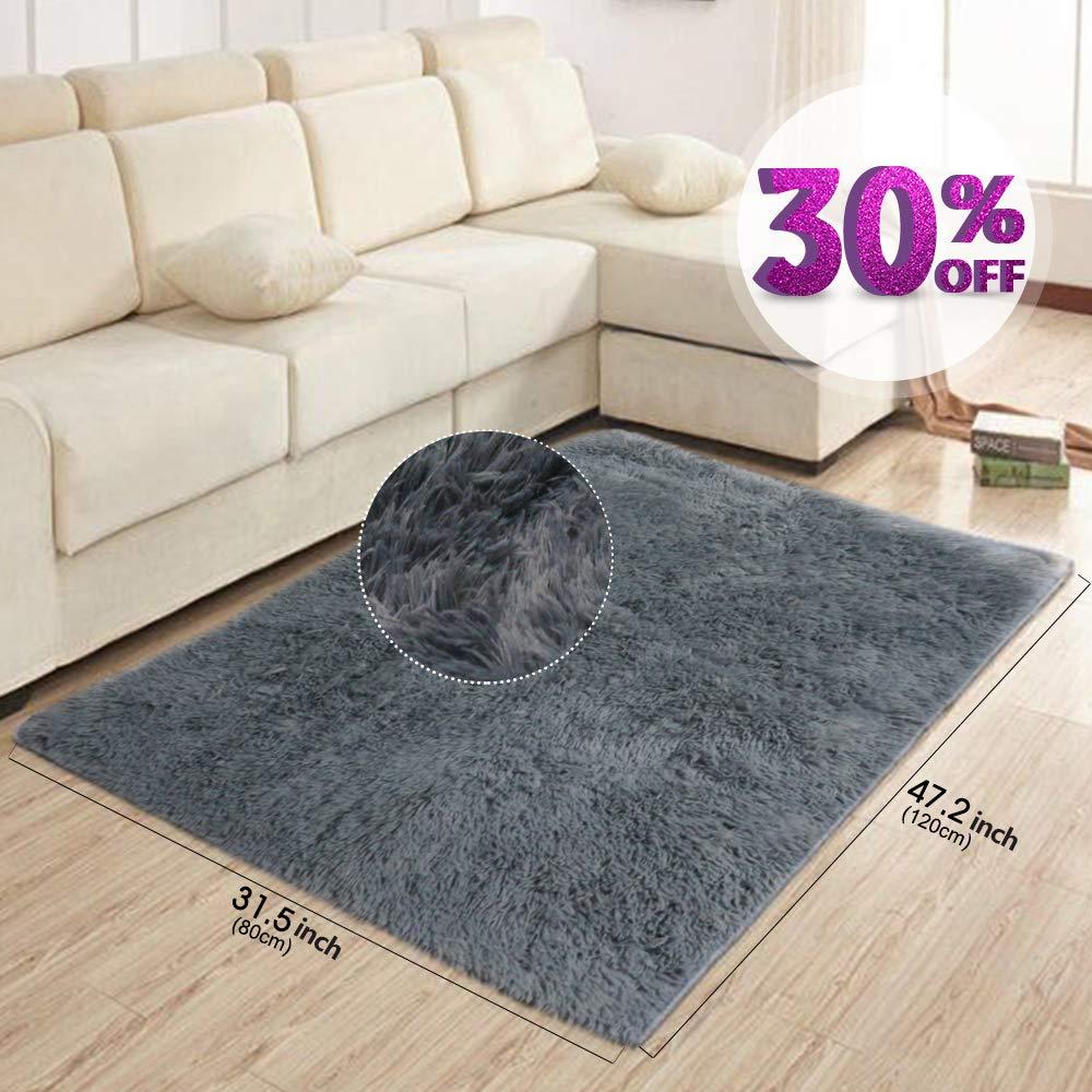 AziPor Alfombras de área para sala de estar Gray Modern Shaggy Carpet 47.2 x 31.5 (120x80 cm) Jiasibai