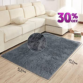 AziPro Teppiche Für Wohnzimmer Grau Modern Shaggy Teppich 47.2 U0026quot;x  31.5u0026quot; ...