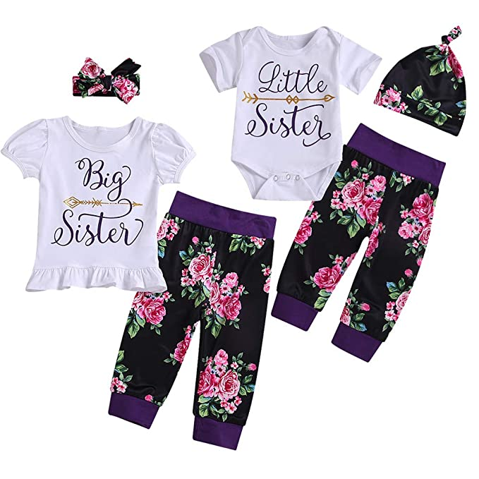 fb4c73ddc 2019 Newborn Girl Clothes Little Sister/Big Sister T-Shirt Gifts Outfits  Matching Set